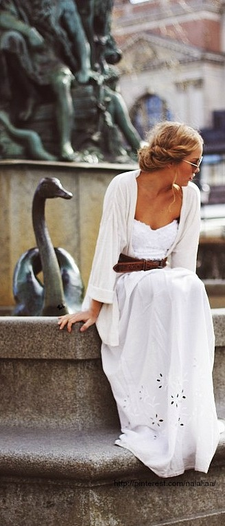 Summer White Dress with Brown Belt