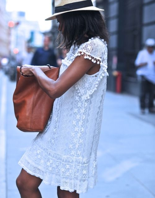 white dress with brown bag