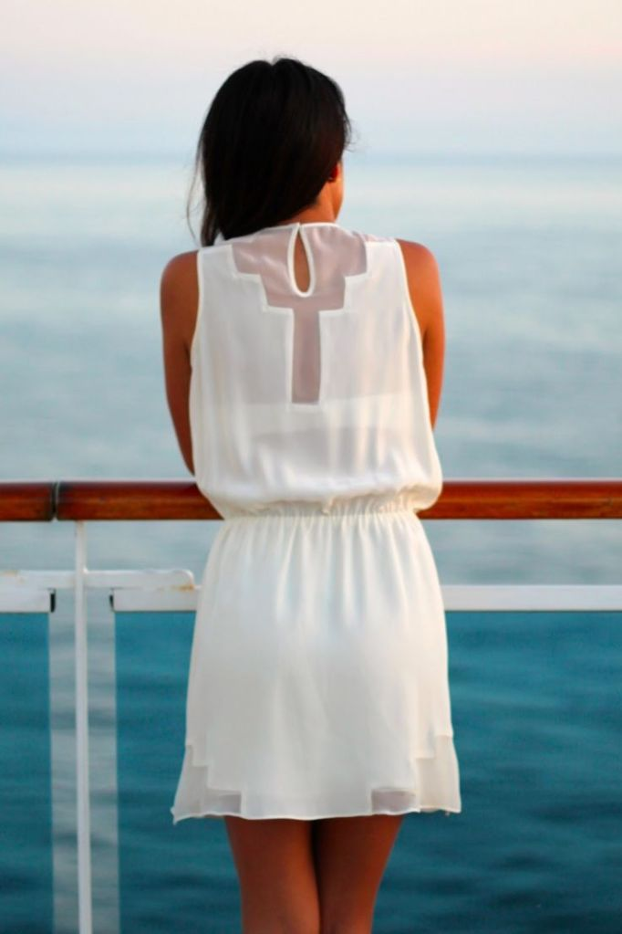 white geometric dress
