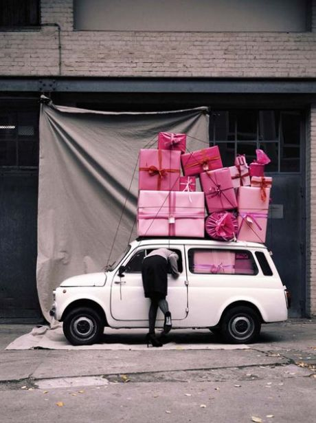 White Car and Pink Presents - Photo by www.onbluepoolroad.com